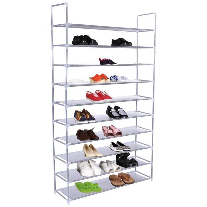 Porte-chaussures Étagère à chaussure meuble de rangement 50 chaussures 10 couche - Achat / Vente ...