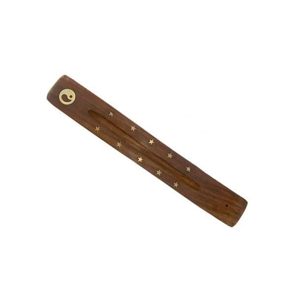 Porte encens bois courb dorure yin yang achat vente for Achat porte bois