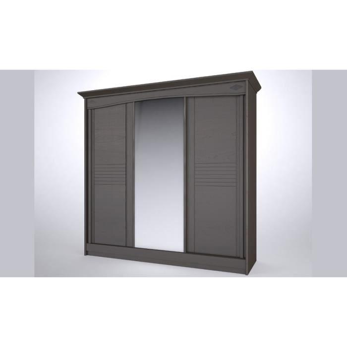 Armoire coulissante mathilda bois portes mixtes achat vente armoire de ch - Armoire coulissante 3 portes ...