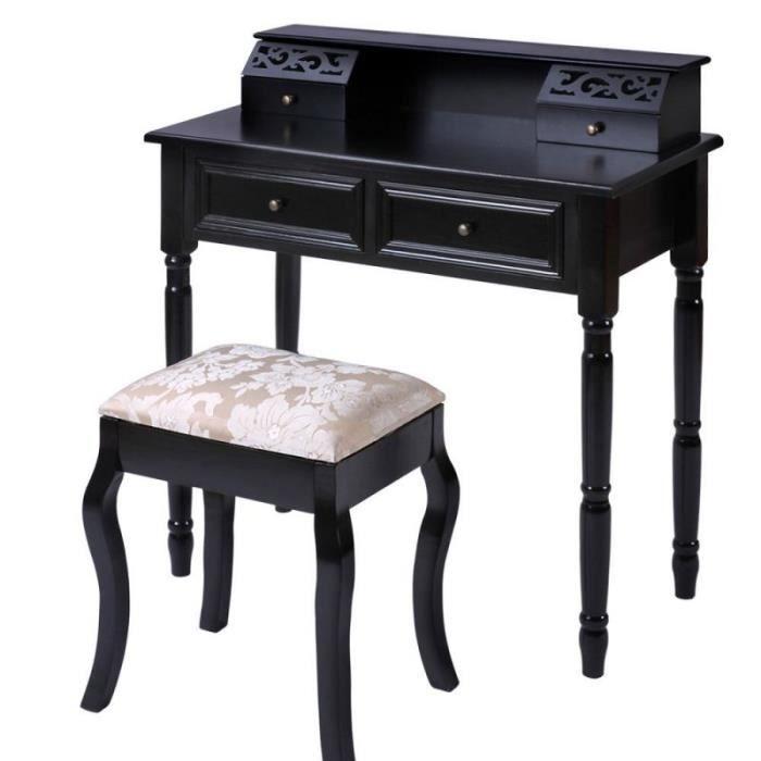 Coiffeuse noire avec tabouret 1401073 achat vente coiffeuse coiffeuse noi - Coiffeuse meuble noir ...