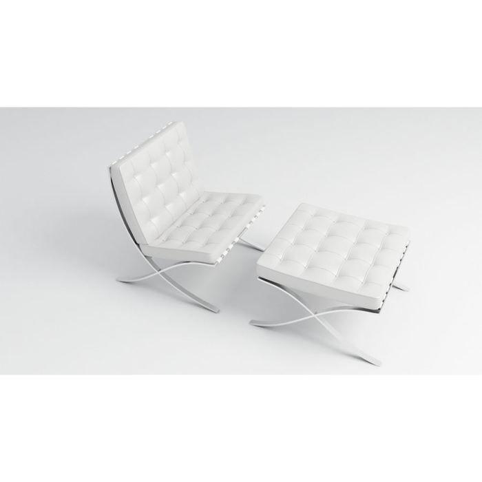 fauteuil et ottoman barcelona pu blanc achat vente. Black Bedroom Furniture Sets. Home Design Ideas