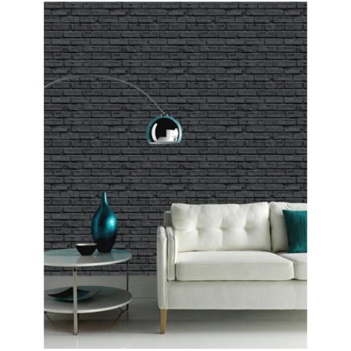papier peint briques noires achat vente papier peint cdiscount. Black Bedroom Furniture Sets. Home Design Ideas