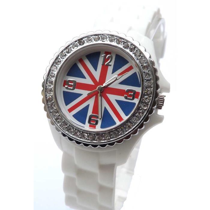 montre enfant ado fille london drapeau anglais uk achat vente montre fille enfant marron. Black Bedroom Furniture Sets. Home Design Ideas