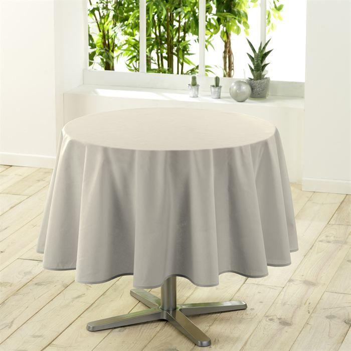 Nappe ronde unie 180 cm essentiel coloris naturel achat vente nappe de ta - Table ronde 180 cm diametre ...