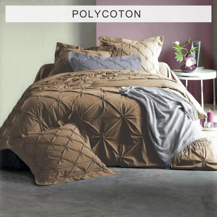 housse de couette 1 personne polycoton avec smocks. Black Bedroom Furniture Sets. Home Design Ideas