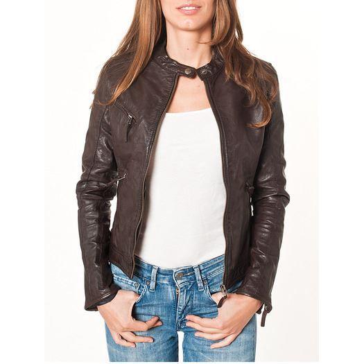 Veste courte en cuir 39 cindy 39 marron fonce achat vente veste - Chutes de cuir pas cher ...