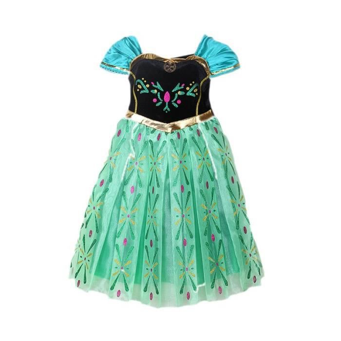 Jolie robe anna reine des neiges 2 a 14 ans vert achat - Robe de anna reine des neiges ...