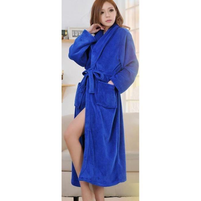 robe de chambre bleue d esse k femme polaire achat vente peignoir cdiscount. Black Bedroom Furniture Sets. Home Design Ideas