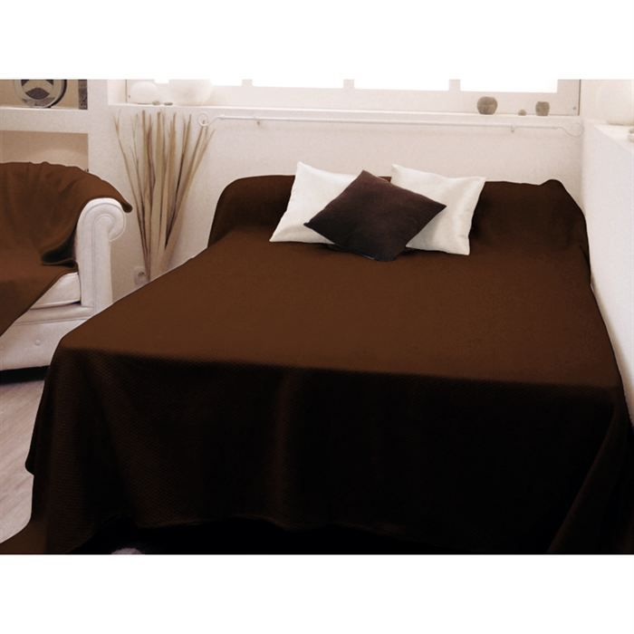 Couvre lit uni 220x240cm delhi chocolat pur coton achat for Dessus de couette