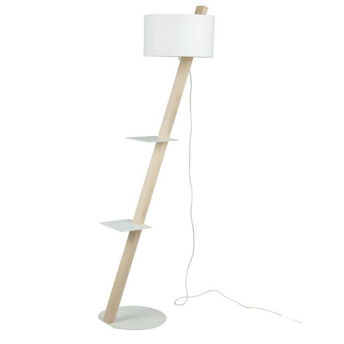 thecle lampadaire en bois h168cm avec tablettes blanches achat vente thecle lampadaire en. Black Bedroom Furniture Sets. Home Design Ideas