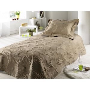couvre lit boutis taupe achat vente couvre lit boutis taupe pas cher cdiscount. Black Bedroom Furniture Sets. Home Design Ideas