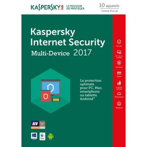 LOGICIEL À TÉLÉCHARGER Kaspersky Internet Security 2017 10 Postes / 1 Ans