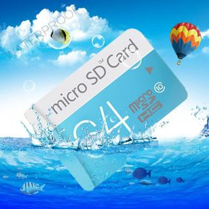 CARTE MÉMOIRE Carte Mémoire Micro SD 64Go(bleu) + Adaptateur SD