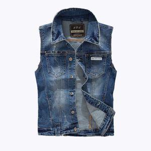 veste en jeans sans manche achat vente veste en jeans sans manche pas cher les soldes sur. Black Bedroom Furniture Sets. Home Design Ideas