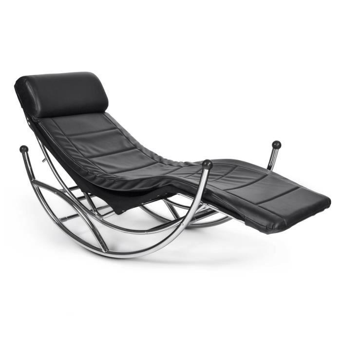 Chaise longue 39 dodo 39 bascule couleur noire achat for Chaise longue basculante