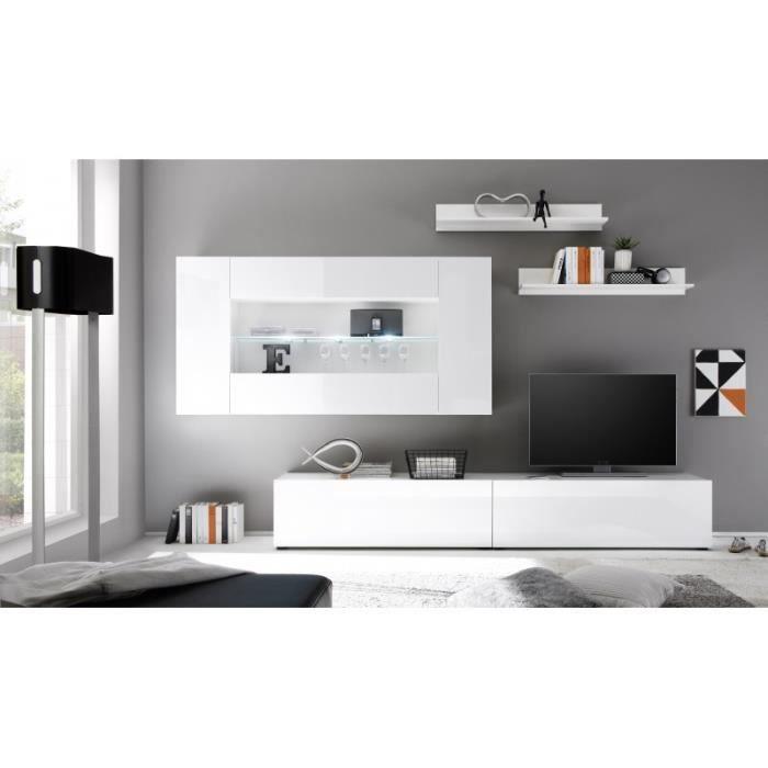 Meuble living blanc avec led 199 cm achat vente meuble for Meuble living blanc