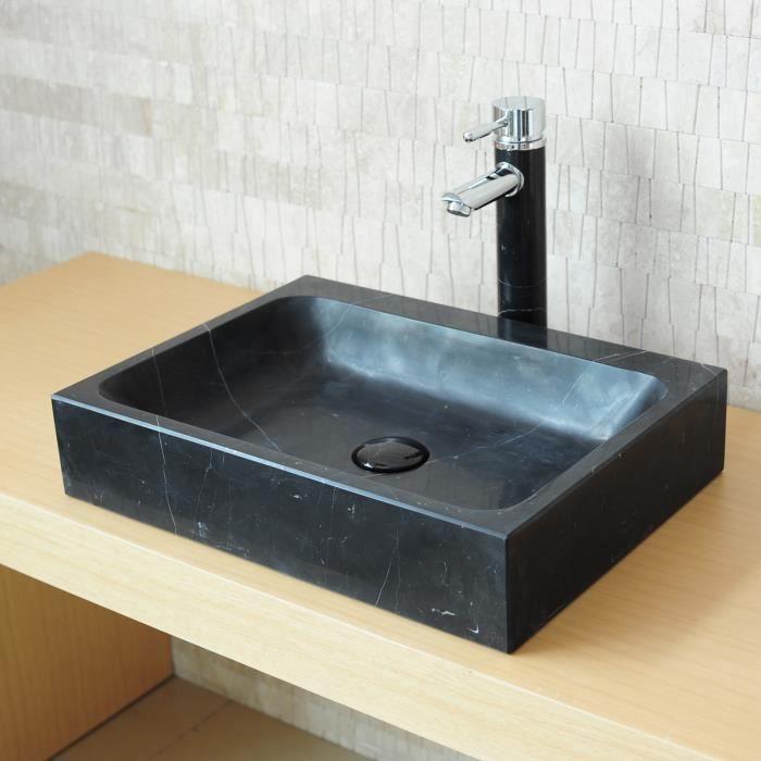 vasque poser en pierre rectangulaire marbre noir achat vente lavabo vasque vasque. Black Bedroom Furniture Sets. Home Design Ideas