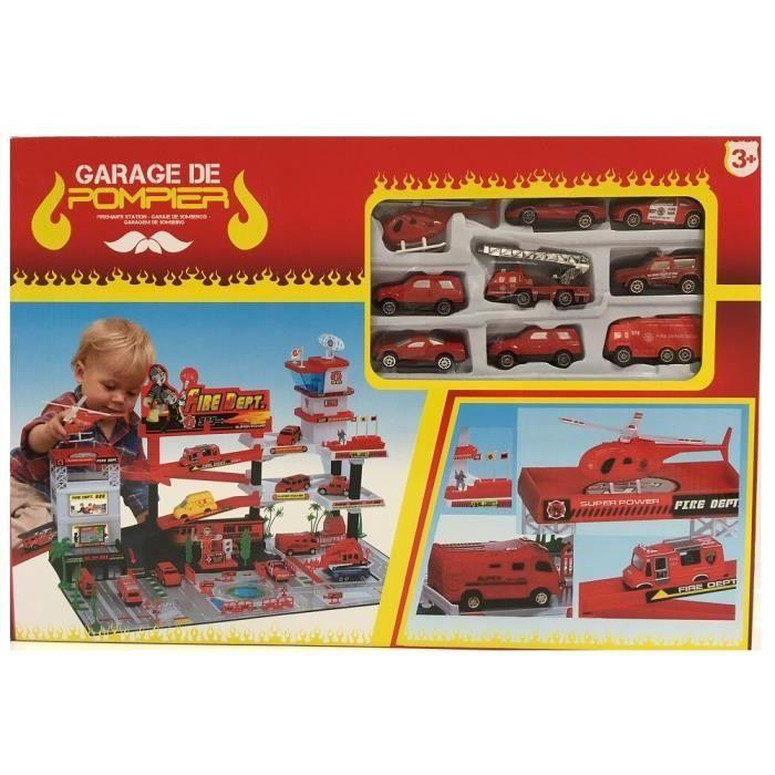 Garage de pompier avec 9 v hicules a partir de 3 ans for Garage achat de voiture