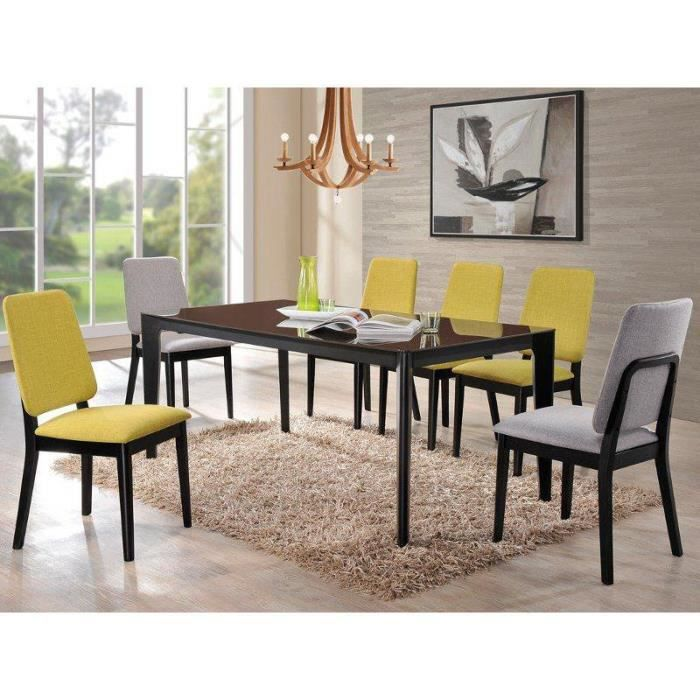 Justhome aspero table de salle manger fonc noir 74 x - Fabriquer sa table de salle a manger ...