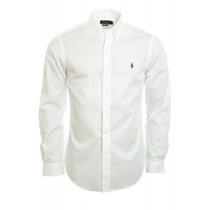 chemise basique ralph lauren blanche pour homme blanc xxl bleu achat vente chemise. Black Bedroom Furniture Sets. Home Design Ideas