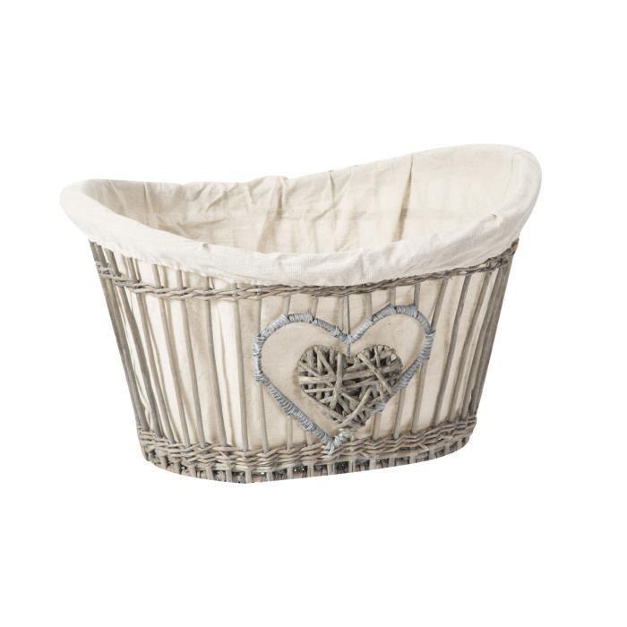 Panier Osier Deco : Panier osier et tissu ovale suspension c ur cm