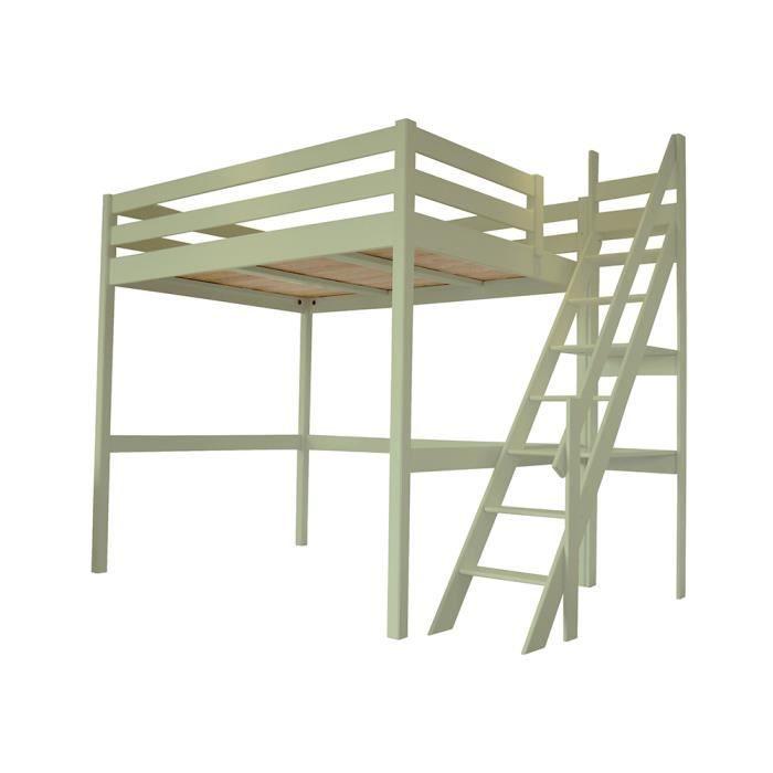 Lit mezzanine sylvia avec escalier de meunier bois achat vente lit mezzan - Lit mezzanine 140x190 bois ...
