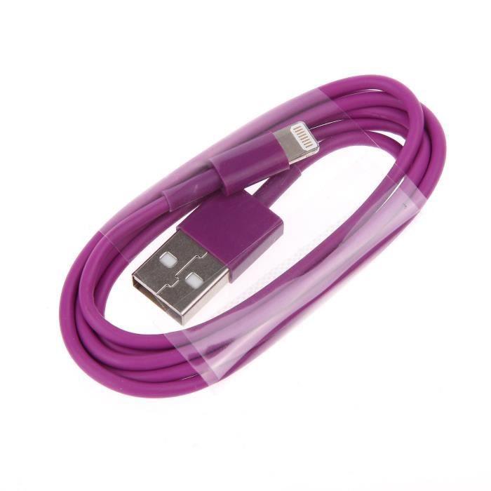 fil cordon alimentation i phone 2 metres violet achat chargeur t l phone pas cher avis et. Black Bedroom Furniture Sets. Home Design Ideas