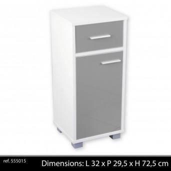 Meuble de salle de bain 1 porte 1 tiroir blanc gris for Meuble salle de bain porte basculante