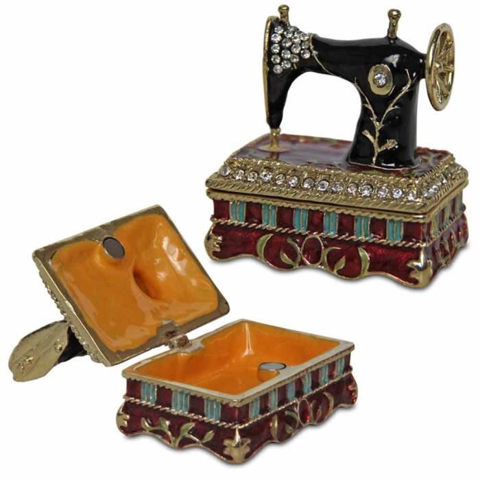 Bo te bijoux de d coration en forme de machine coudre for Boite machine a coudre