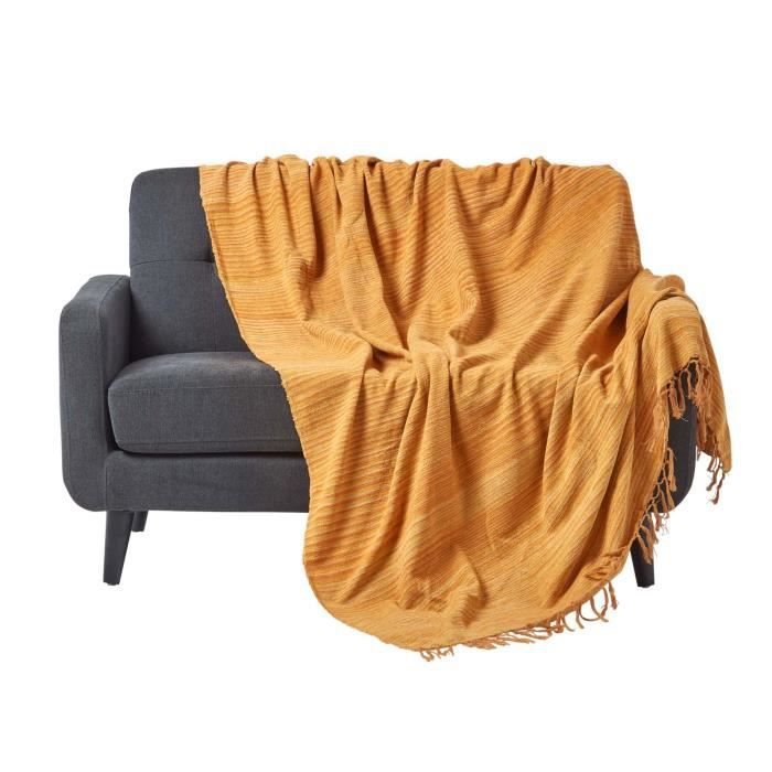 Jet de lit ou de canap chenille rouille 150 x 200 cm for Jete de canape blanc