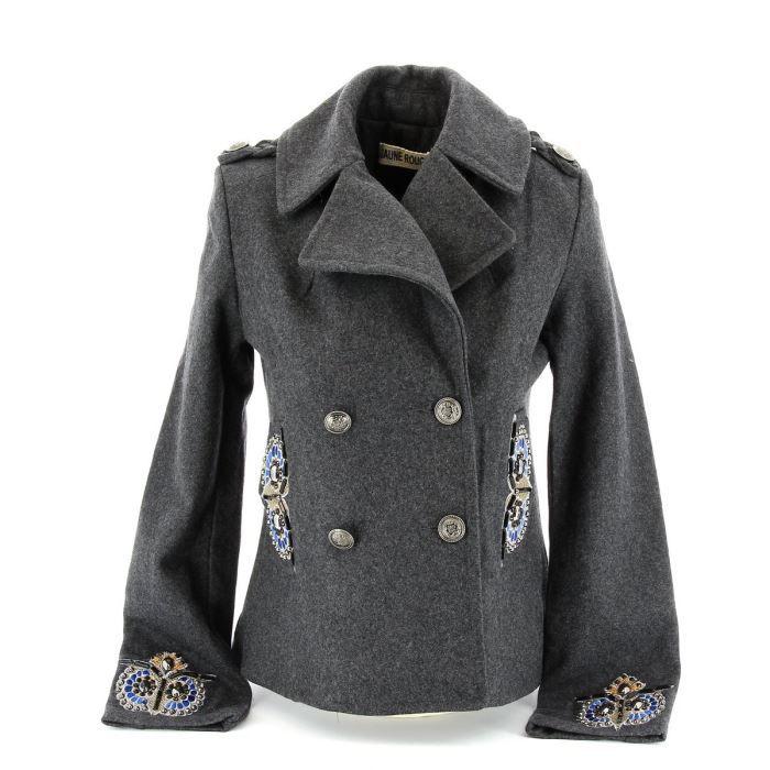 manteau court bijoux gothique gris gris achat vente manteau caban cdiscount. Black Bedroom Furniture Sets. Home Design Ideas
