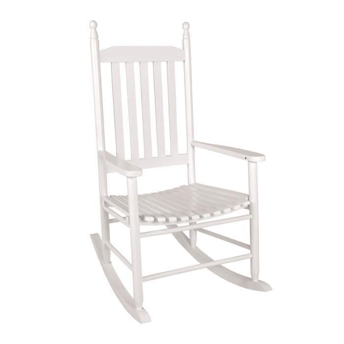 Fauteuil bascule lina blanc l62 x h114 x p83 cm achat vente fauteuil b - Fauteuil a bascule blanc ...