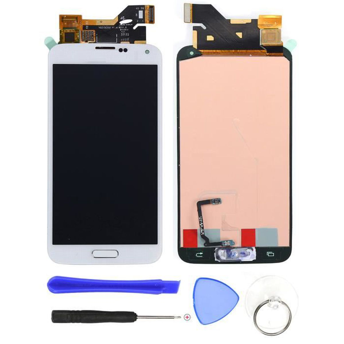 cran complet lcd pour samsung g900 i9600 galaxy s5 blanc tactile outils reparer achat pi ce. Black Bedroom Furniture Sets. Home Design Ideas