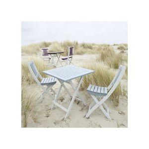 Ensemble table chaises de jardin en bois achat vente for Ensemble jardin bois