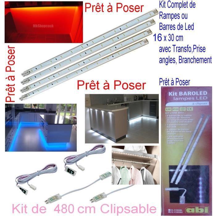 kit complet 220v pr t poser rampe barre barrette 16 x 30 cm 192 led rouge 4 8m tre achat. Black Bedroom Furniture Sets. Home Design Ideas