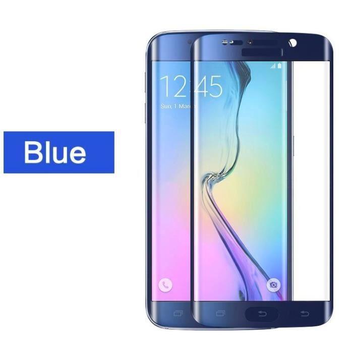 1pcs blue film de protection vitre verre trempe transparent pour samsung galaxy s6 edge achat. Black Bedroom Furniture Sets. Home Design Ideas