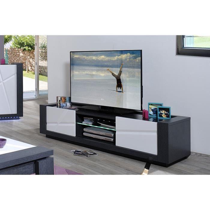Meuble tv lumineux gris et blanc laqu contemporai achat for Meuble salon gris et blanc