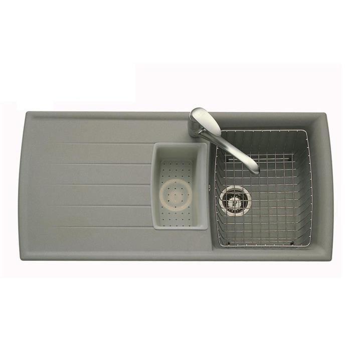 Vier granit gris ardesco 1 bac 1 2 1 gouttoir achat for Evier de cuisine 1 bac