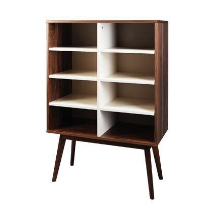 biblioth que noyer massif bois et blanc malmo achat. Black Bedroom Furniture Sets. Home Design Ideas