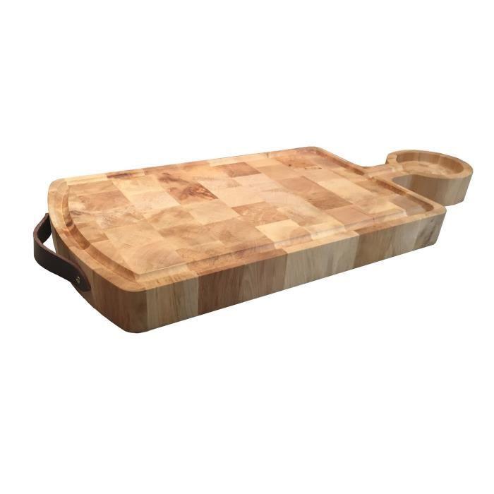 planche billot en bois de charme avec lani re en cuir. Black Bedroom Furniture Sets. Home Design Ideas