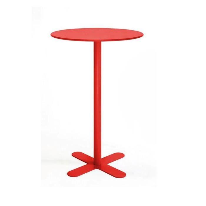 Table Haute M Tal Ronde D80 San Mateo Couleur Rouge