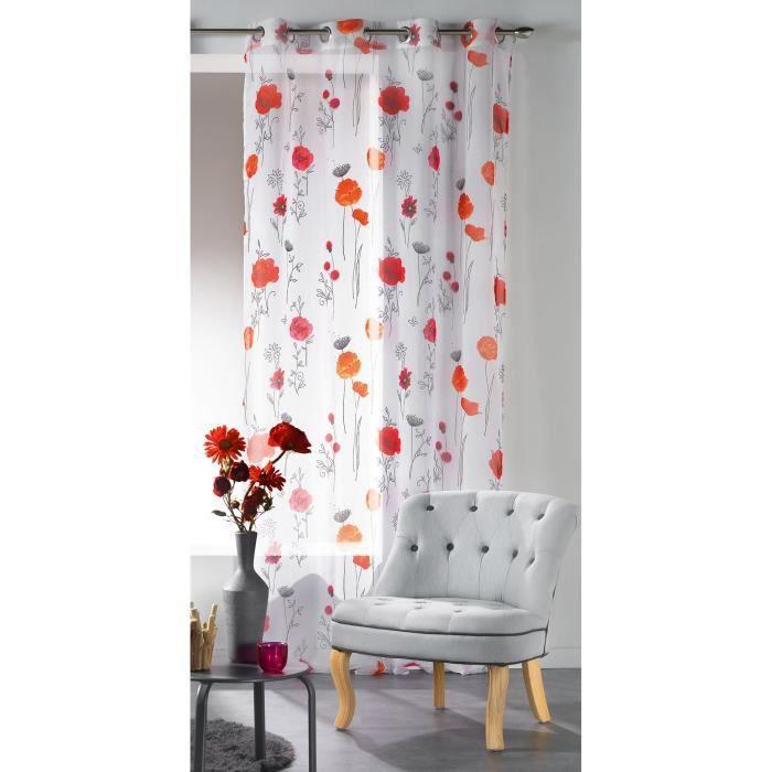 voilage oeillets 140x240 imprim spinouz blanc achat. Black Bedroom Furniture Sets. Home Design Ideas