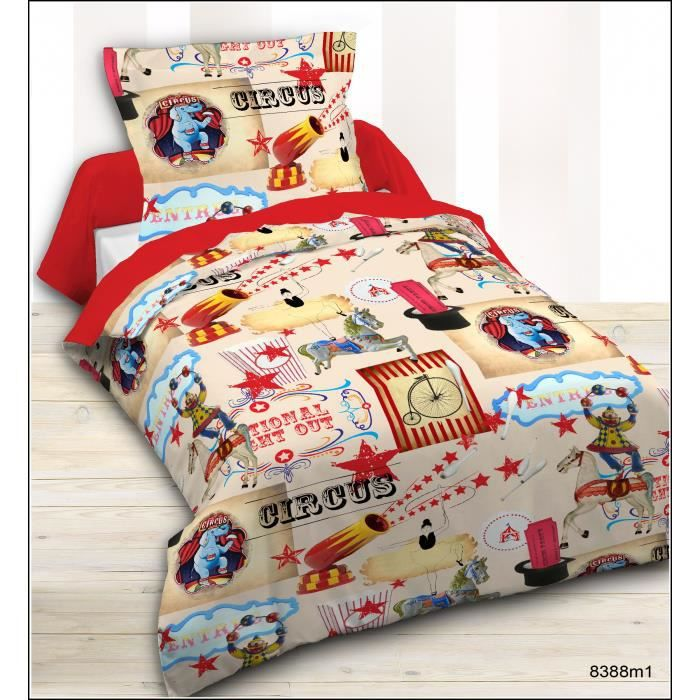 today housse de couette enfant 140x200cm 1 taie circus. Black Bedroom Furniture Sets. Home Design Ideas