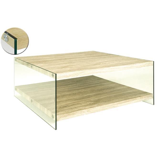Table basse ch ne clair l90 x h40 x p90 cm achat vente table basse table - Table basse chene clair ...
