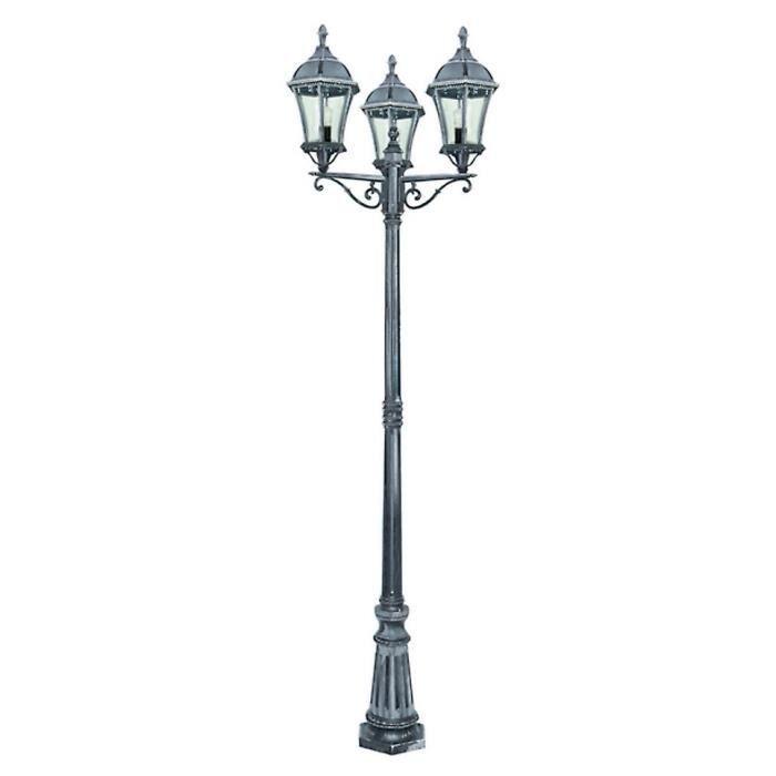 torino lampadaire 3 t tes noir argent h222cm achat. Black Bedroom Furniture Sets. Home Design Ideas