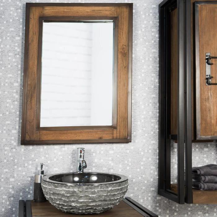 Miroir de salle de bain loft bois m tal 60x80 achat - Miroir en bois salle de bain ...