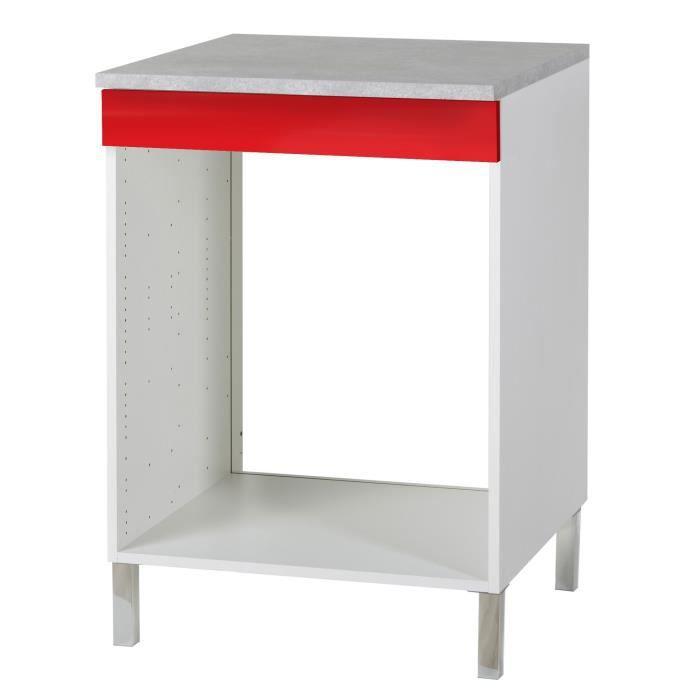 Vertigo meuble de cuisine bas pour four 60 cm rouge - Meuble cuisine bas 60 cm ...