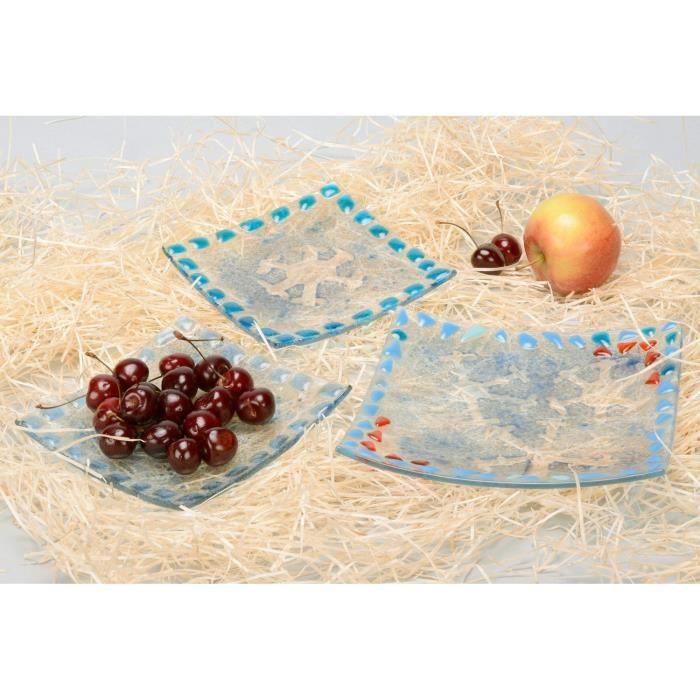 set d 39 assiettes en verre fait main ensemble de plats vaisaille carr es transparentes achat. Black Bedroom Furniture Sets. Home Design Ideas
