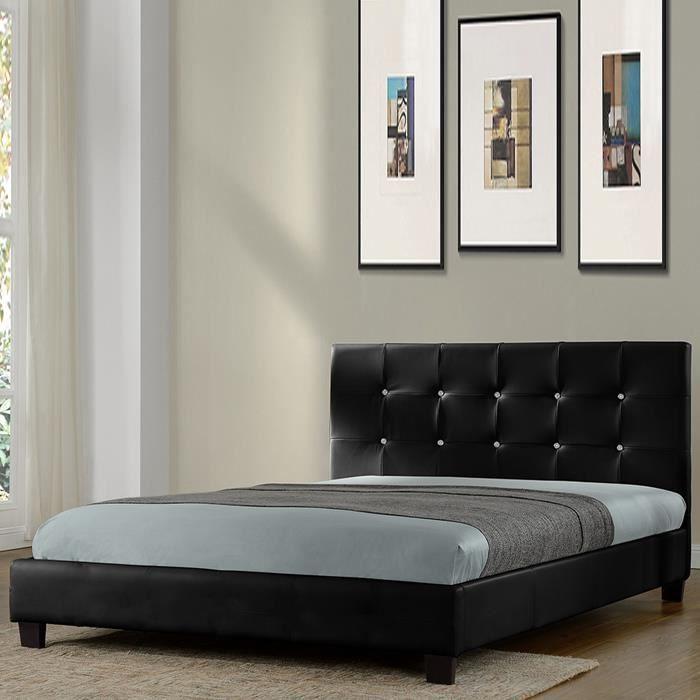 lit design noir avec sommier 140 x 190 cm relax achat vente structure de lit lit noir. Black Bedroom Furniture Sets. Home Design Ideas