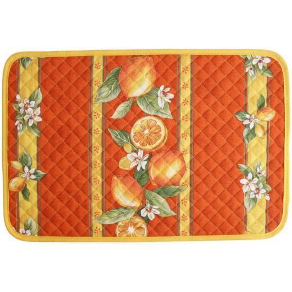 Set de table citron orange achat vente nappe de table for Set de table matelasse